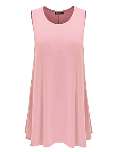 Womens USA CTC Made Dress Trapeze Sleeveless Together California Neck Wdr929 Round pink Come in tqPxSZF
