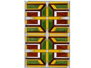 Prairie 2 Earthy Vertical Stained Glass Panel ()