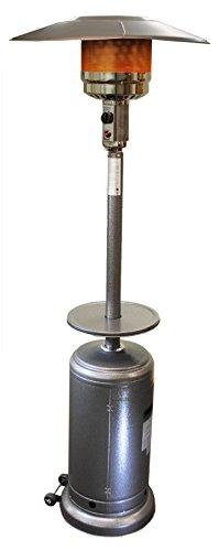 Sunheat International Umbrella Shaped Propane Based Patio Heater, Commercial Patio Heater, Outdoor Space Heater, Commercial Porch & Deck Heater, Silver Finish For Sale