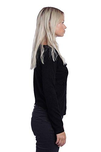 Abbino K1602 Chaquetas de Punto para Mujer - 4 Colores - Verano Otoño Invierno Entretiempo Cardigans Rebecas Mujeres Largas Elegante Casual Vintage Fiesta Rebajas - Talla única Negro