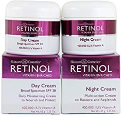 Skincare LdeL Cosmetics Retinol Vitamin Enriched Night Cream & Day Cream 2.25 Ounces Each | Nourish Softens Protect Restore Replenish Clarity Radiance Resurfaces Smoothes Lines & Wrinkles (2.25 Oz)