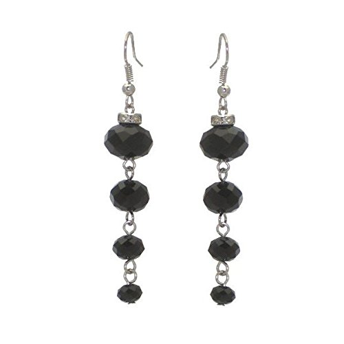 DAGNY silver tone Black Cascade Hook Earrings