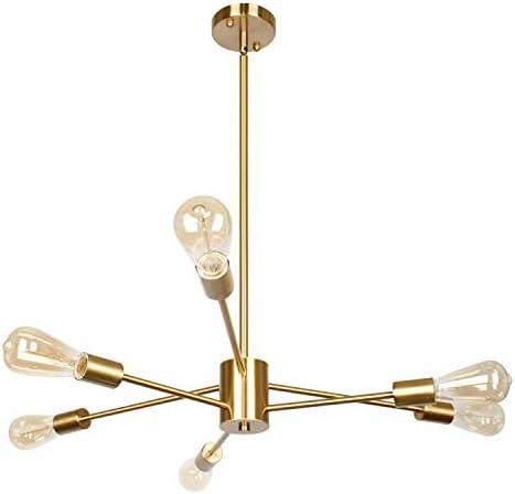 PUZHI HOME Sputnik Chandelier Gold Chandelier Modern Pendant Lighting