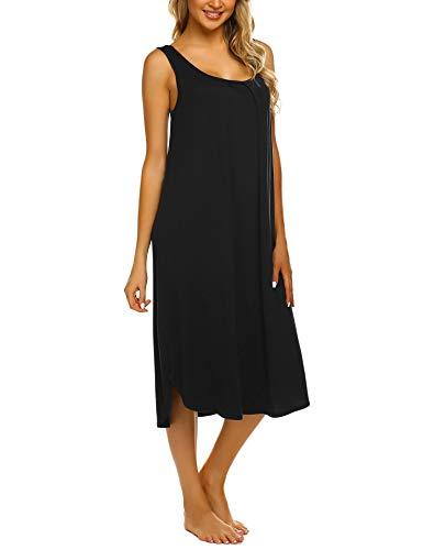 Ekouaer Tank Nightdress Women Long Nightgown Cozy Loungewear Black X-Large