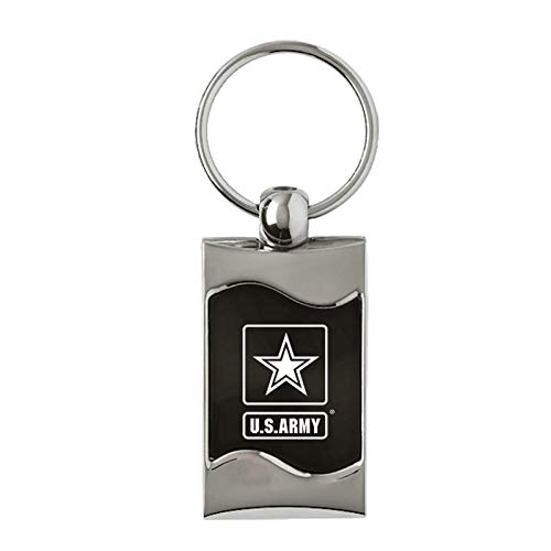 Au-TOMOTIVE GOLD Official Licensed for US Army Reversed Rectangular Wave Black Keychain Key Ring Fob
