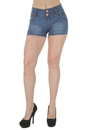 G154SH-P - Plus Size, Butt Lifting, Levanta Cola, Mid Waist Denim Shorts in Washed Light Blue Size 16