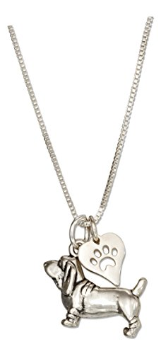Sterling Silver 18 inch Basset Hound Necklace with Dog Paw Print Heart Pendant (Basset Hound Necklace)