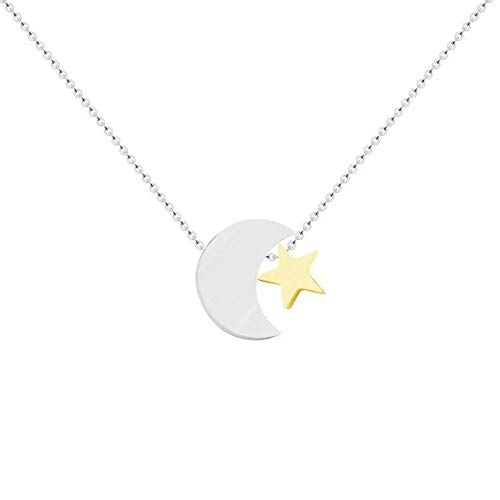 Ballari Womens Delicate Silver Crescent Moon and Star Pendant Necklace, Stainless Steel Crescent Moon Pendant Necklace for Women, Simple Silver Choker Necklace
