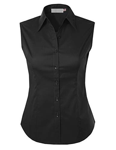 (MAYSIX APPAREL Plus Size Sleeveless Stretchy Button Down Collar Office Formal Shirt Blouse for Women Black 2XL)