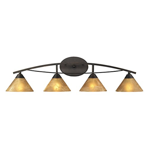 Elysburg Light 4 Vanity - Alumbrada Collection Elysburg 4 Light Vanity In Oiled Bronze And Tea Stained Brown Glass