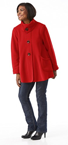 The Most Perfect Fleece Swing Coat - Women's Tie Button Jacket (X-Large, red)