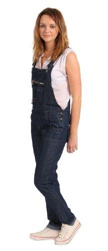 Womens Skinny Fit Bib Overalls Ladies Indigo Blue Denimn Slim Leg