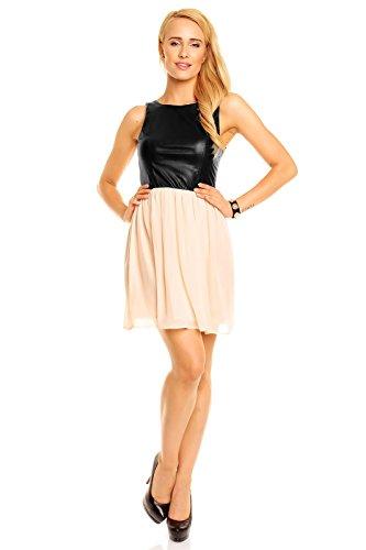 6502a6008ee ... Mayaadi Festkleid Cocktailkleid Hs-301 Ballkleid Kleid Kunstlederkleid Partykleid  Abendkleid Schwarz-apricose ...