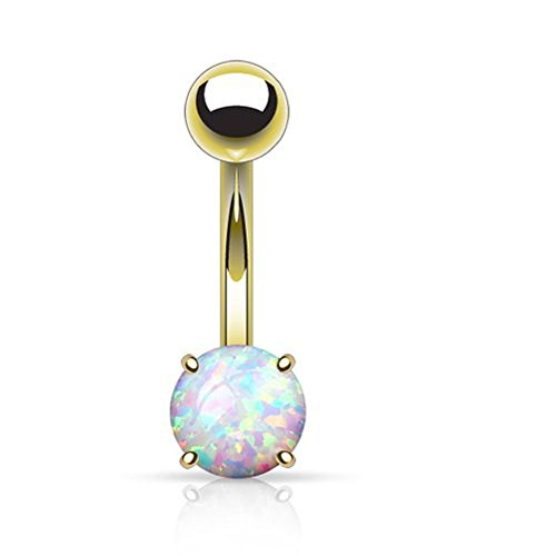 14k Gold Plated Opal Prong Set Belly / Privates barbell (316L) Surgical Steel Plated Belly Navel Ring (yellow gold)