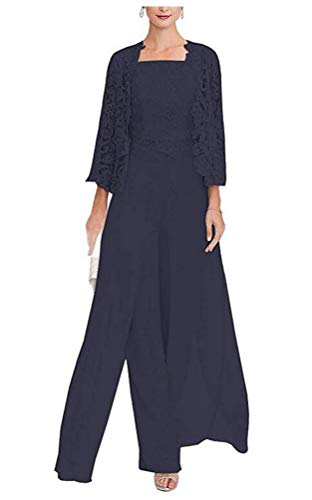 (Women's 3 Pieces Chiffon Dress Mother of The Bride Pants Suits with Lace Jacket Wedding Outfit Evening Gown Navy US12)