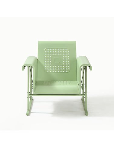 Crosley Furniture Veranda Metal Outdoor Single Glider Chair - Oasis Green (Glider Vintage Metal)