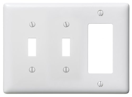 Bryant Electric NP226W 3-Gang 2 Toggle 1 Decorator/GFCI Wall Plate, White