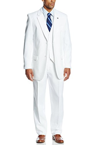XDress Men's 3 Pieces Side Vents Groom Wedding Long Suit Vest and Trousers (White,50L) by XDress