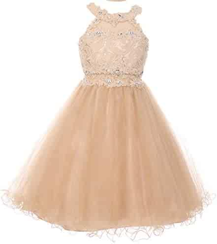 529a0bc0582 BluNight Collection Dazzling Halter Neck Lace Tulle Pageant Easter  Graduation Flower Girl Dress 4-20