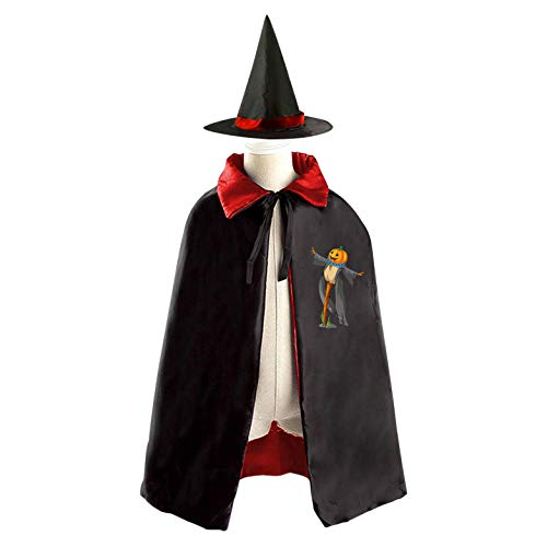 (69PF-1 Halloween Cape Matching Witch Hat Pumpkin Head Scarecrow Wizard Cloak Masquerade Cosplay Custume Robe Kids/Boy/Girl Gift)