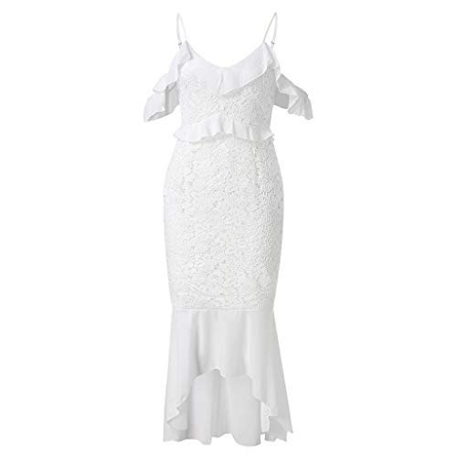 Sexy Lace Off Shoulder Ruffle Cocktail Party Pencil Knee Dress