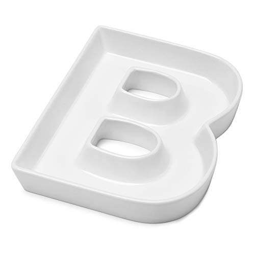 Sweese 708.902 Porcelain Letter Candy Dish, Letter B, White Candy Bowl - Decorative Serving Dish for Weddings, Anniversaries, Baby Showers, Birthday Parties, Table Decoration
