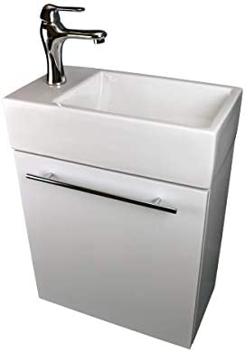 Dandi 17 3/4″ Wall Mounted Cabinet Vanity Bathroom Sink White Combo Faucet Drain