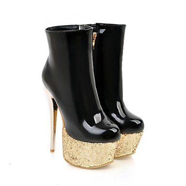 Heel Boots Dress Leatherette For Round Women's Boots Fashion Ankle White Red Toe Booties Shoes Stiletto Winter White Boots Casual Black nZwq70OAw