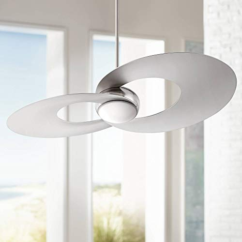 """52"""" Innovation Modern Ceiling Fan with Light LED Dimmable Remote Brushed Nickel for Living Room Kitchen Bedroom Dining - Possini Euro Design"""
