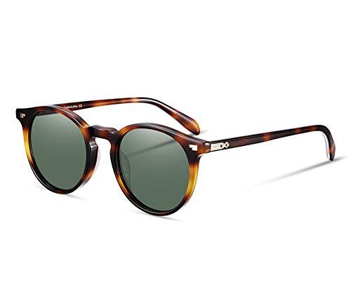 Vintage Tortoise Round Sunglasses Women Polarized Lens Adjustable Acetate Retro Brand Designer Sunglasses for Women Men (Tortoise vs green lens)