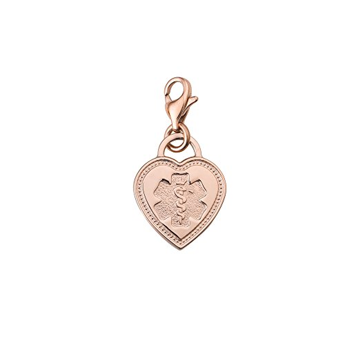 Divoti Deep Custom Laser Engraved Premier PVD 316L Medical Alert ID Heart Charm w/Lobster Clasp-Rose - Charms Id Engravable Medical