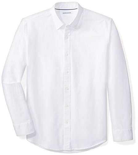 Amazon Essentials Men's Regular-Fit Long-Sleeve Solid Oxford Shirt, White, X-Small