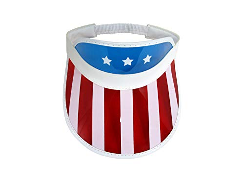 Retro Patriotic USA Flag Clear Beach Sun Visor Hat,Red White Blue,One Size]()