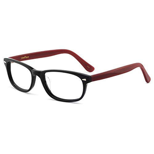 OCCI CHIARI Women Fashion Colorful Eyewear Frames Non-prescription Eyeglasses With Clear Lenses (Black/red, ()