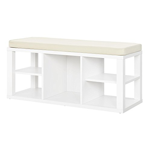 Ameriwood Home Parsons Storage Bench, White - White Storage Bench