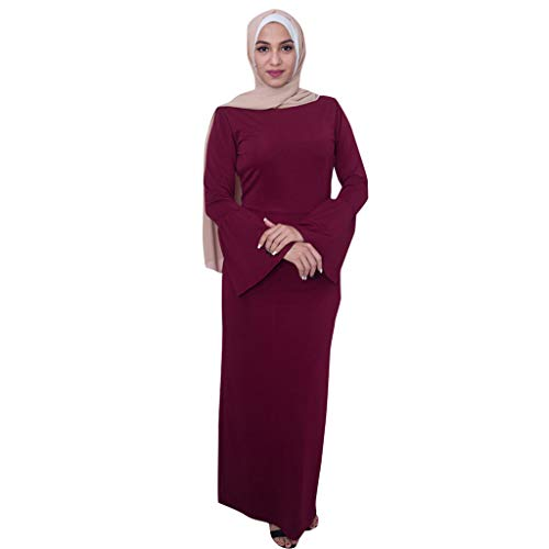 HYIRI Abaya Turkey Long Robe Kaftan Clothes,Muslim Women's Modest Maxi Dress Red