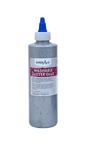 Handy Art Washable Glitter Glue 8 ounce, - Silver Painting Fabric