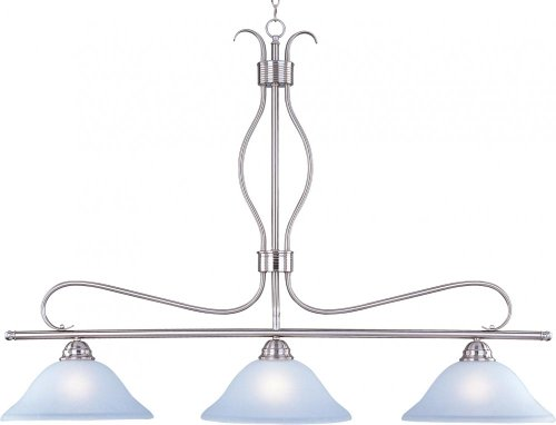 Three Light Satin Nickel Ice Glass Island Light 10127ICSN ()