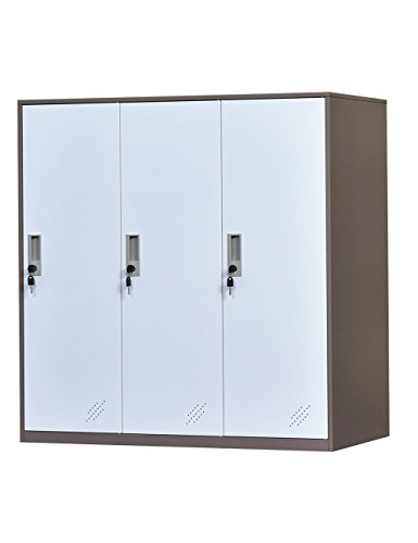 3 Door Metal Office Storage Locker,Steel Office Phone Bag Storge Locker with Lock and Shelves,Living Room Shoes Cabinet(3D)