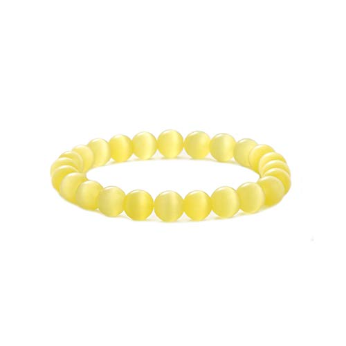 MAOCEN Women Bracelet 8mm Colorful Cats Eye Stone Beads Royal Crown Charm Jewelry Elastic 6-6.5 Inches (Yellow Beads)