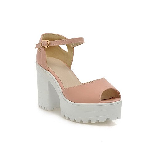Amoonyfashion Donna Morbido Materiale Peep Toe Tacchi Fibbia Sandali Solidi Rosa