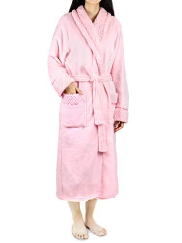 Deluxe Women Fleece Robe with Satin Trim | Luxurious Plush Spa Bathrobe Waffle Design Pink