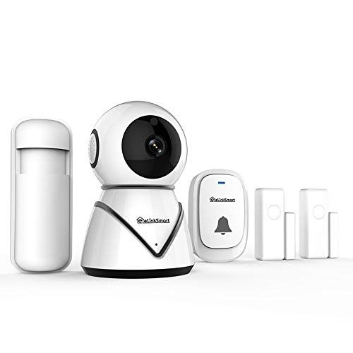 Elinksmart WiFi Camera PIR Detector Night Vision Two Way Audio DIY Kit with 2 Pack Door/Window Sensors for Home Security Alarm System Door Alarm ()