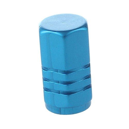タイヤ空気ノズルキャップ,SODIAL(R)2pcs スクエアアルミタイヤ空気ノズルキャップ(ブルー)
