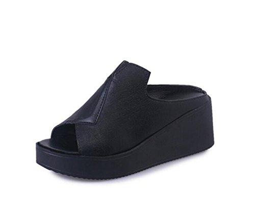 Women's Stretchy Slip On Peep Toe Backless Platform Sandals Shoes-(Black 36/5.5 B(M) US Women)