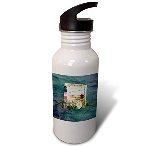 (3dRose Beverly Turner Fathers Day Design - Image of Fathers Day, Beach Scene, Frame, Lighthouse, Bike, Birds - Flip Straw 21oz Water Bottle (wb_304963_2) )