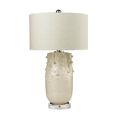 picture of Dimond Lighting D2610 One Light Modern Organics Table Lamp, Ivory Finish with Clear Glass with Off White Linen Shade