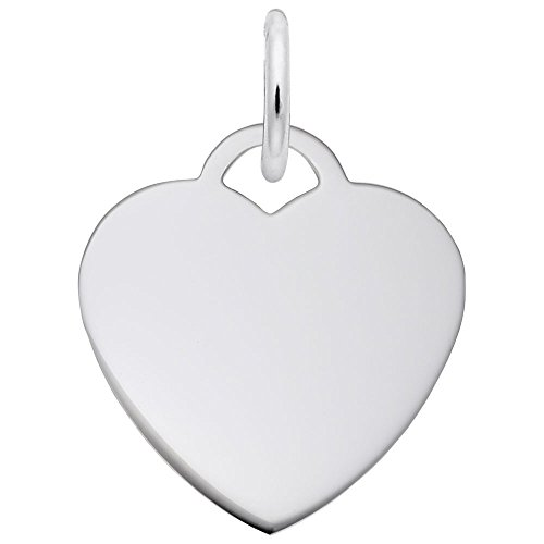 Rembrandt Charms, Classic Small Heart.5mm Thick.925 Sterling Silver, (Classic Silver Heart)