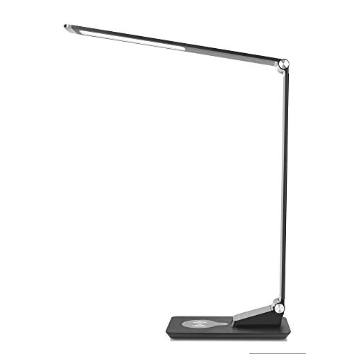 LED Desk Lamp with Wireless Charging, Eye-caring Table Lamps, CANAGROW Dimmable Office Study Light with USB Charging Port, 3 Color Modes 5 Brightness Levels, Touch Control, Memory Function, Black