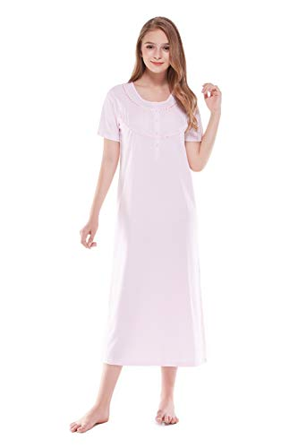 - Women's Nightgown 100% Cotton Lace Trim Short Sleeve Long Sleepwear (M, Light Pink)